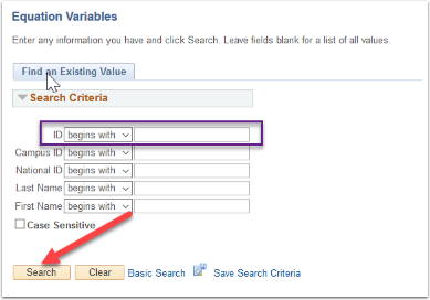 Equation Variables - Find an Existing Value tab