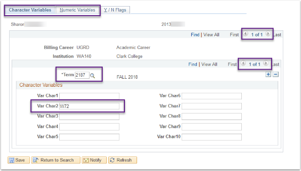 Character ad Numeric Variables tabs