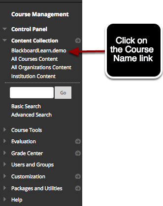 Step 1 - Access the Content Collection for the Course