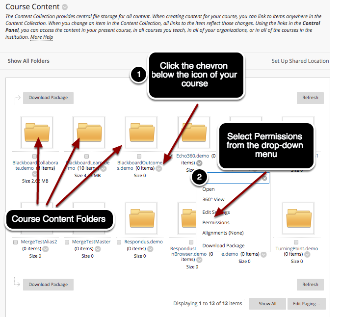 Step 2a - Select Permissions for All Course Content (Thumbnail View)
