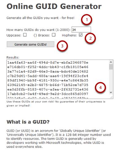 Generate GUIDs