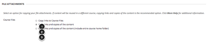 Image of the File Attachments screen showing the following options under Course Files: 1. Copy links to Course Files. 2. Copy links and copies of the content. 3. Copy links and copies of the content (include entire course home folder)