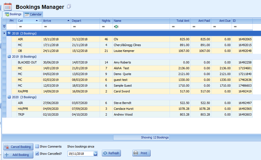 Bookings Manager List Display