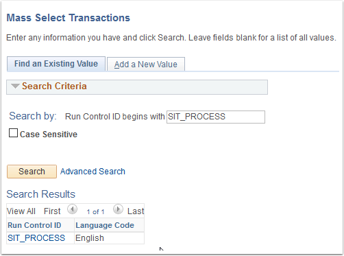 Mass Select Transactions page Find an Existing Value tab