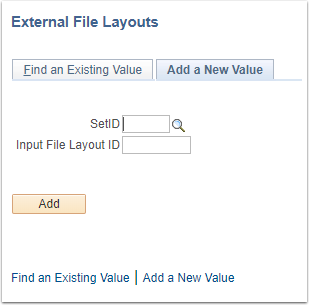 External File Layouts Add a New Value tab