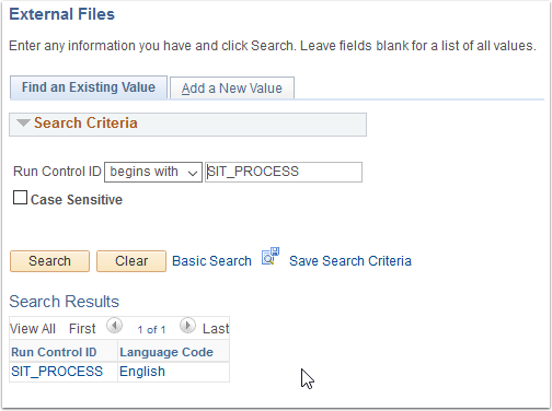 External Files page - Find an Existing Value tab