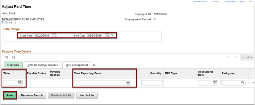Adjust Paid Time section