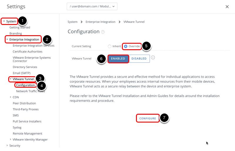 Configure the VMware Tunnel settings