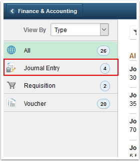 Journal Entry task area on the Pending Approvals page