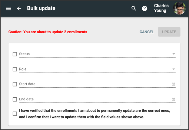 Bulk update screen with a message cautioning the user that they are about to update two enrollments.