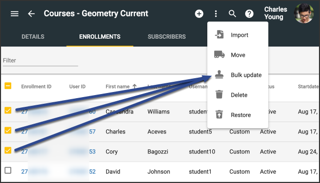 Enrollments tab with ids checked, prior to selecting the Bulk Update option.