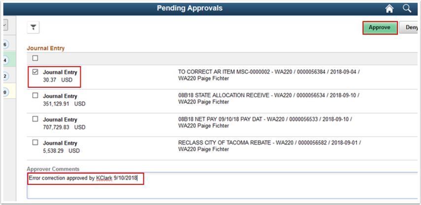 Pending Approvals page