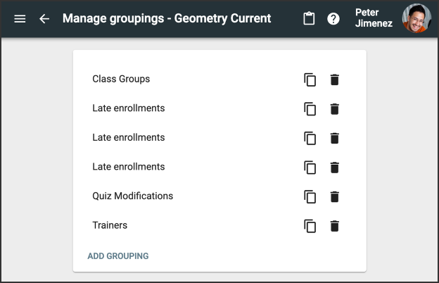 Manage Groupings
