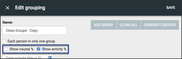 Edit Grouping generate groups using course or activity percentages.