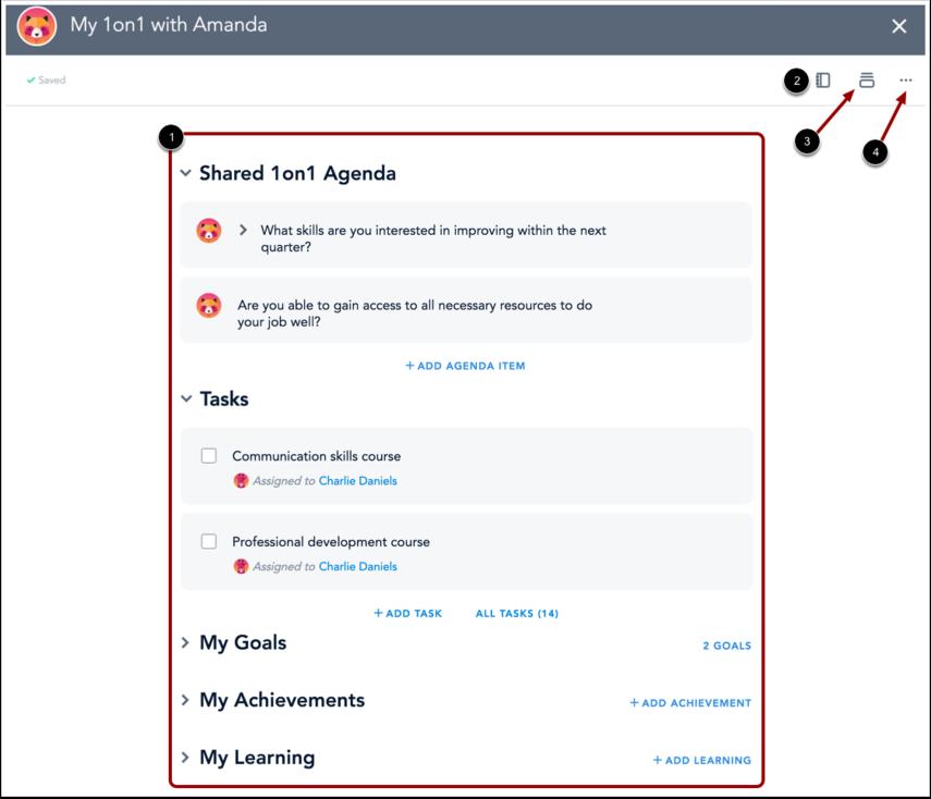 1on1 Agenda Page
