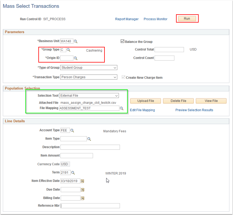 Mass Select Transactions Parameters, Pop Selection and Line Details highlighted