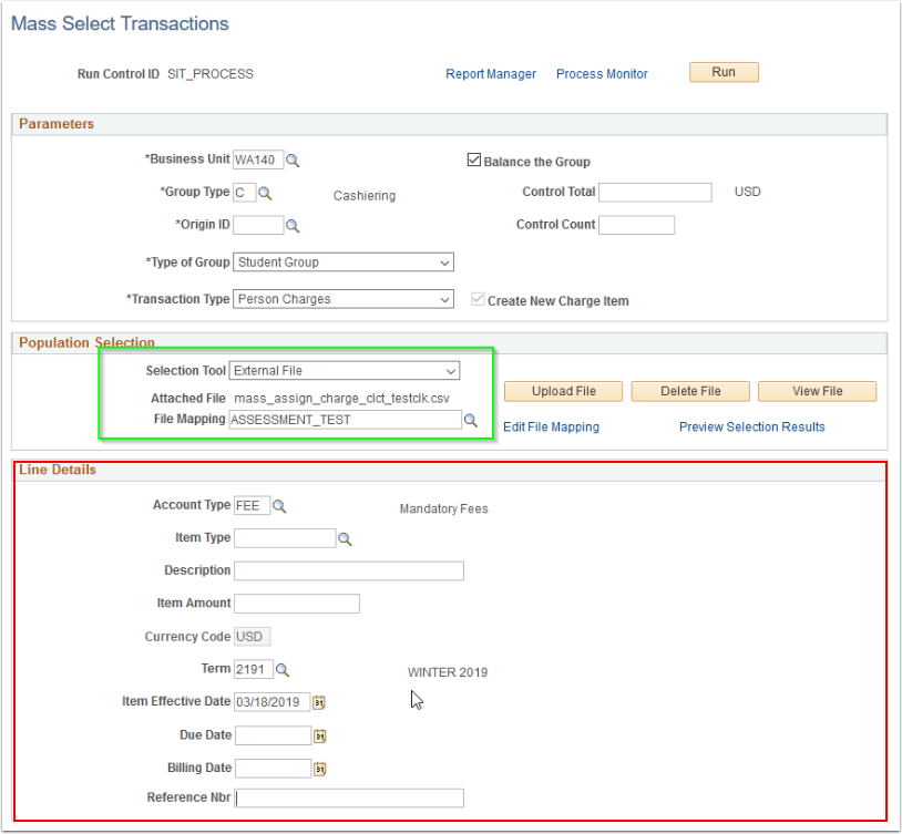 MAss Select Transactions Line Details section highlighted