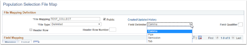 Population Selection File Map Field Delimiter drop down menu