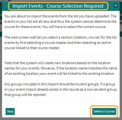 Click to proceed to course selection