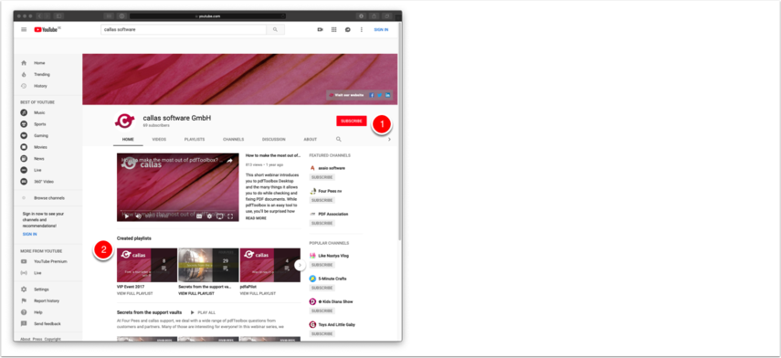 Screengrab of the callas software YouTube channel