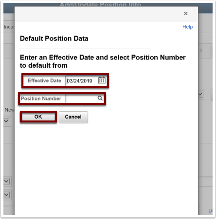 Default Postion Data section