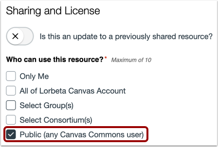 Share With Public (All Canvas Users)
