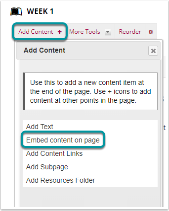 Select Add Content, then Embed Content on Page.