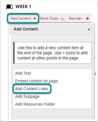 Select Add Content, then Add Content Links.