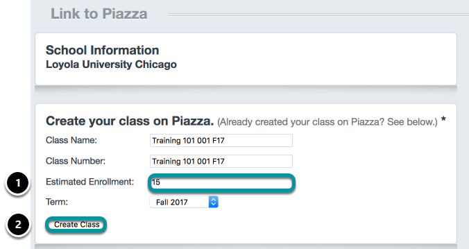 Link your course to Piazza.