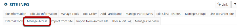 Manage Access tab highlighted in Site Info tabs..