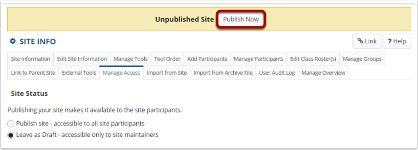 "Site Status with ""Leave as Draft"" radio button selected. Unpublished Site note at top and Publish Now button highlighted."
