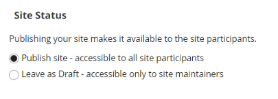 """Site Status (i.e published or unpublished) with """"Publish site"""" radio button selected."""