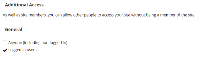 "Additional access settings with ""Anyone"" and ""Logged in Users"" boxes checked."