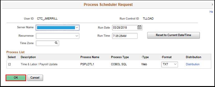 Process Scheduler Request pagelet