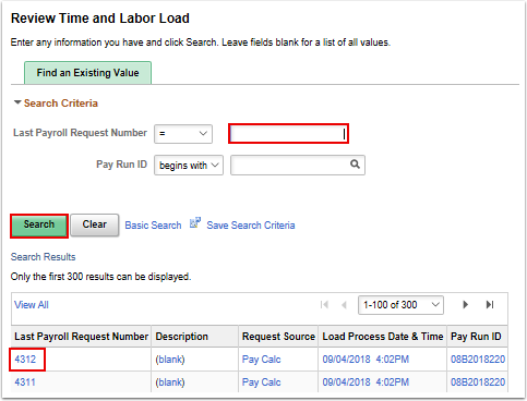 Review Time and Labor Load search results