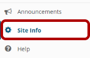 Site Info tool highlighted in the site Tool Menu.