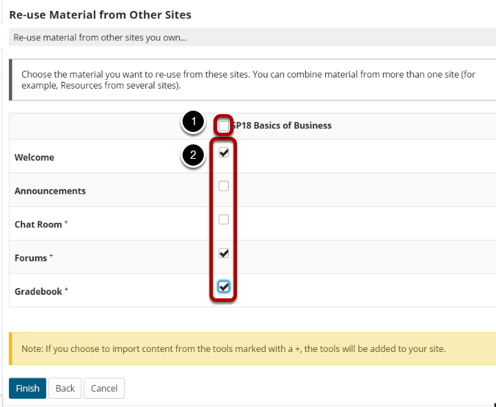 List of tools with checkboxes for selecting content highlighted.