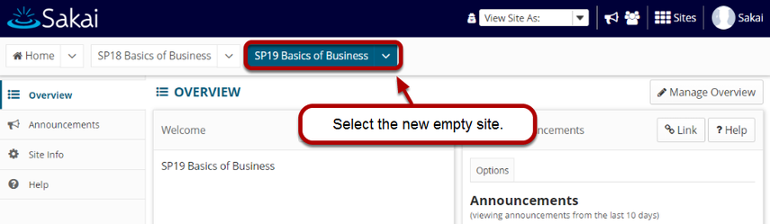 Sakai page with site tab highlighted for site where content will be copied.
