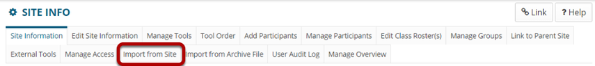 Import from Site tab highlighted in Site Info tabs.