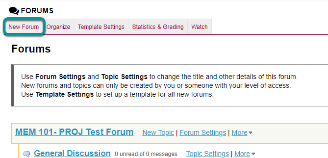 Select New Forum.