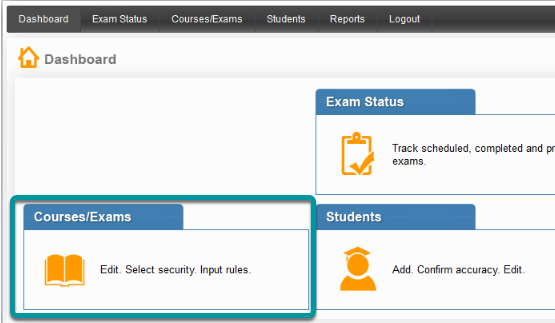 Locate the Courses/Exams tab on the Dashboard.