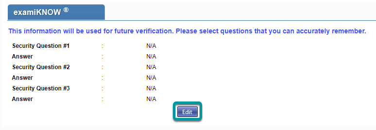 Select and answer three security questions.