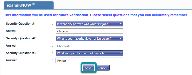 Select and populate security questions.