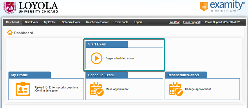 Select Start Exam.