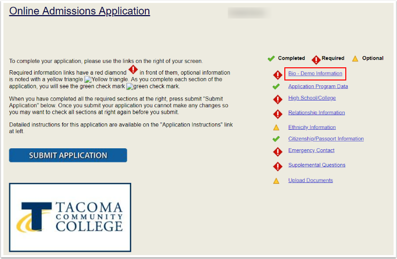 Online Admissions Application landing page