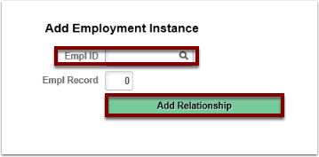 Add Employment Instance section