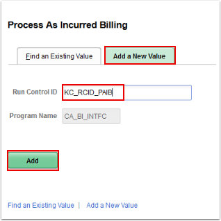 Process As incurred Billing page, Add a New Value tab