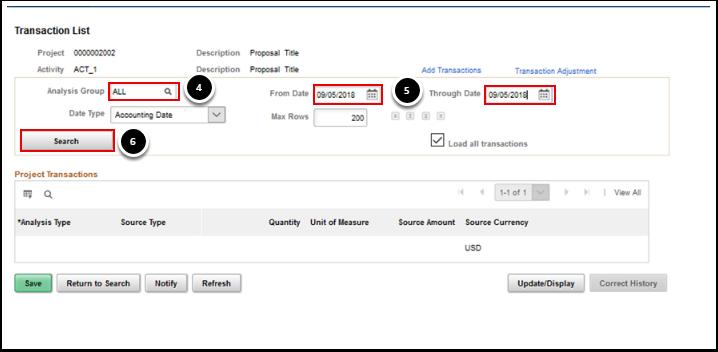 Transaction list page