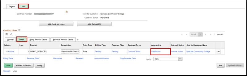 General Information page, Lines tab, Detail tab