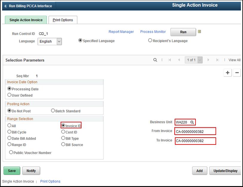 Single Action Invoice tab